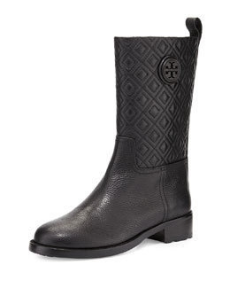 Tory Burch Marion Quilted Leather Boot, Black