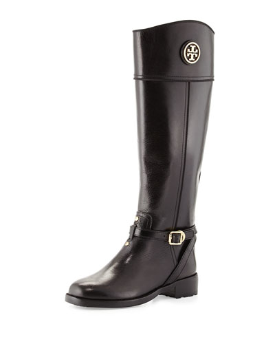 Tory Burch Teresa Logo Riding Boot, Black