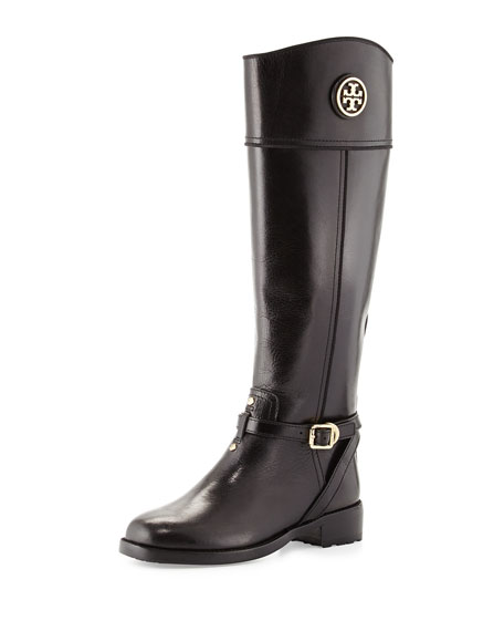Teresa Logo Riding Boot, Black