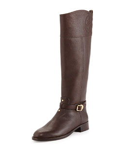 Tory Burch Marlene Leather Riding Boot, Coconut