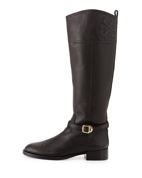 Marlene Leather Riding Boot, Black