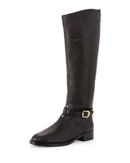 Tory Burch Marlene Leather Riding Boot, Black