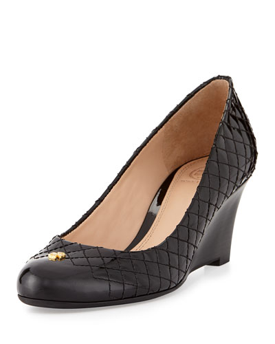 Tory Burch Kent Patent Quilted Wedge Pump, Black