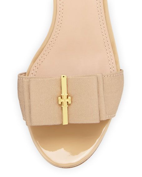 Trudy Patent Bow Sandal, Nude