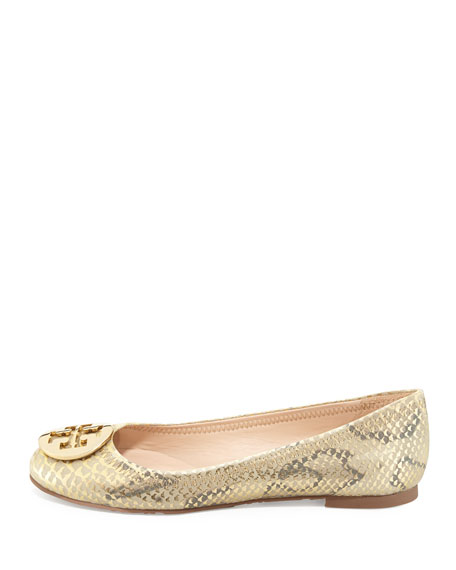 Reva Metallic Ballerina Flat, Natural Gold