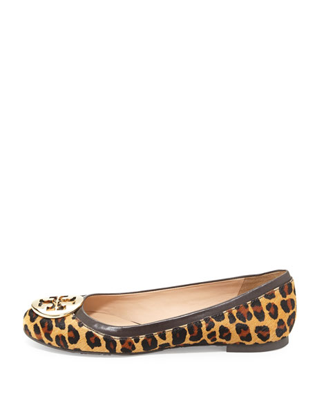 6d2ae8bd39378 Tory Burch Reva Leopard-Print Calf Hair Flat