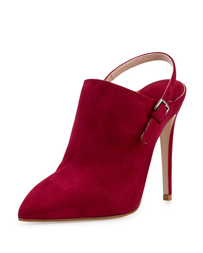 Miu Miu Suede Point-Toe Slingback Ankle Boot, Dark Pink