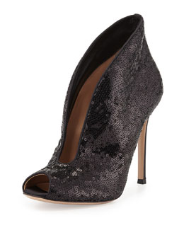 Gianvito Rossi Sequined Split-Front Evening Bootie