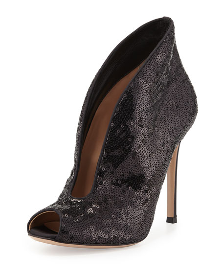Sequined Split-Front Evening Bootie