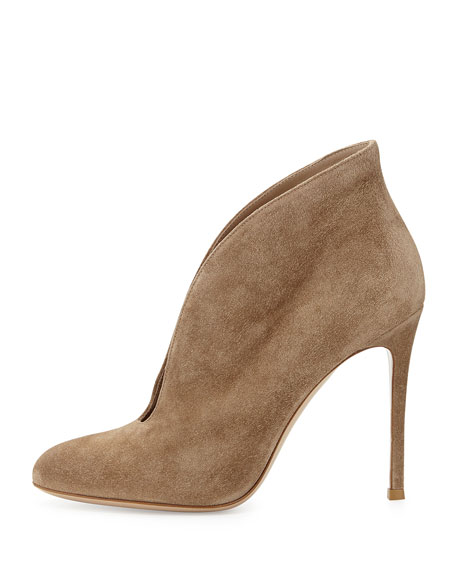 Suede V-Neck Ankle Bootie, Tan