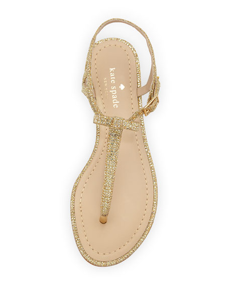 andrea sparkly bow flat thong sandal