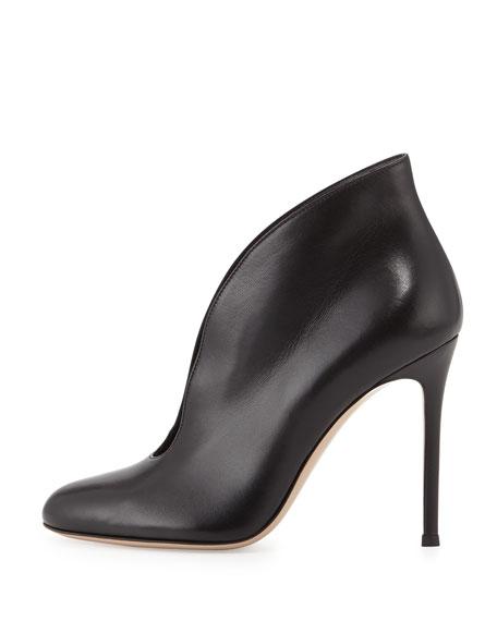 Leather V-Neck Ankle Bootie, Black