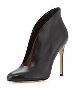 Gianvito Rossi Leather V-Neck Ankle Bootie, Black