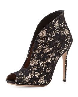 Gianvito Rossi Lace V-Neck Peep-Toe Bootie, Black