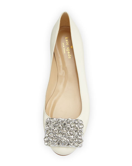 brilliant jewel-toe ballerina flat, cream