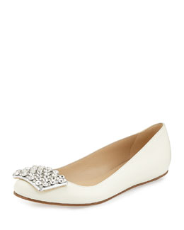 kate spade new york brilliant jewel-toe ballerina flat, cream