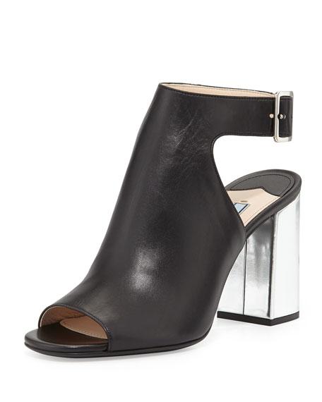 Bicolor Open-Toe Block-Heel Sandal