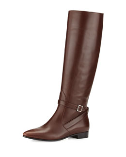 Prada Vitello Flat Knee Boot, Teak