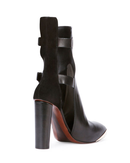 Cutout Leather Ankle Bootie, Black