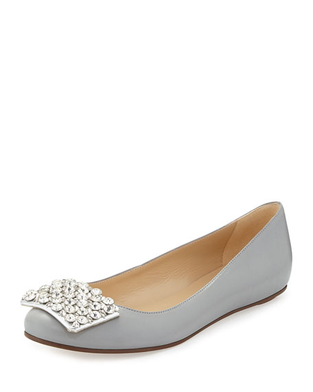 brilliant jewel-toe ballerina flat, gray
