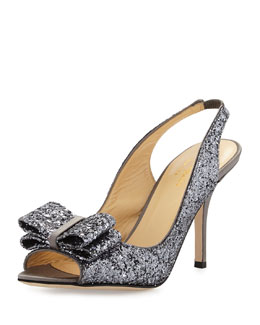 kate spade new york charm glittered bow slingback, pewter