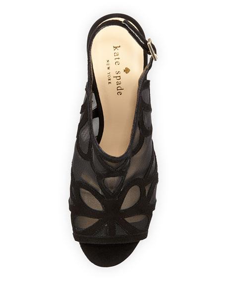 fanni mesh/lace slingback, black