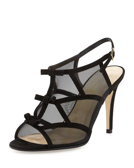 idette suede & mesh bow sandal, black
