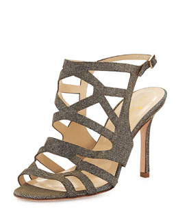 kate spade new york illia strappy glitter sandal, bronze