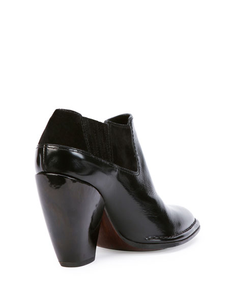 Point-Toe Leather Ankle Bootie, Black