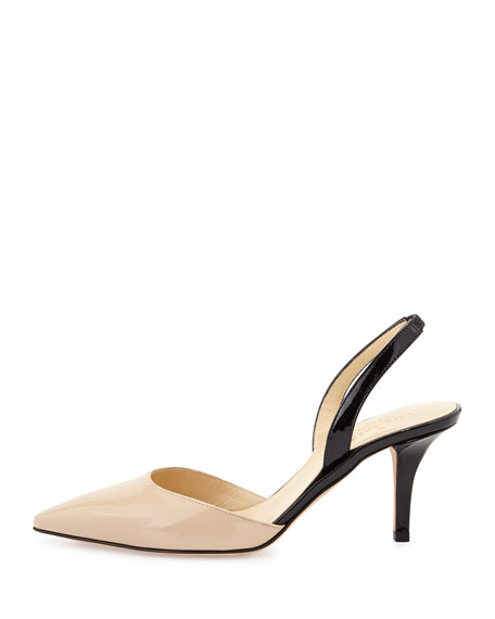 f42920dfd kate spade new york jeanette point-toe slingback pump, powder/black