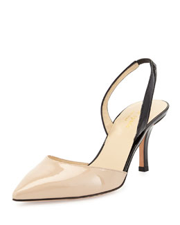 kate spade new york jeanette point-toe slingback pump, powder/black