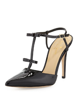 kate spade new york laurelei patent t-strap pump, black