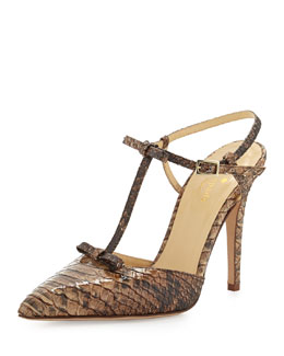 kate spade new york laurelei snake-print t-strap pump, fawn