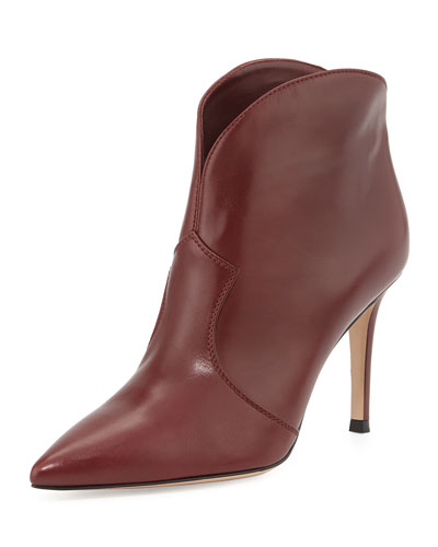 Gianvito Rossi Pointed-Toe Low Western Boot, Burgundy