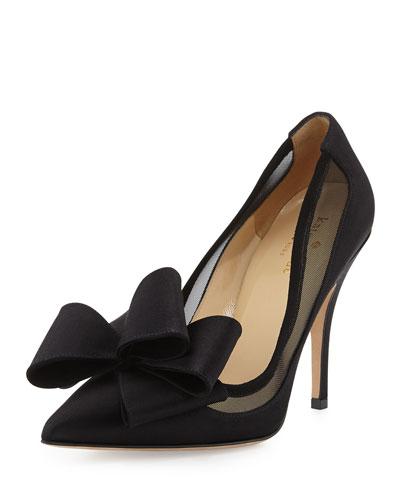 lovely satin bow pump, black