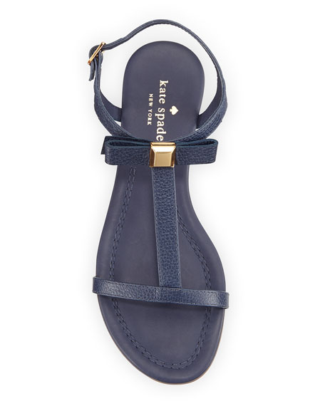 tessa bow leather flat sandal, navy