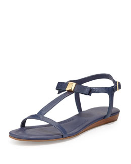 kate spade new york tessa bow leather flat sandal, navy