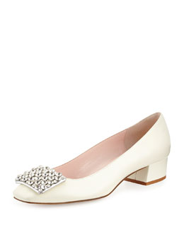 kate spade new york mixer leather jewel pump, cream