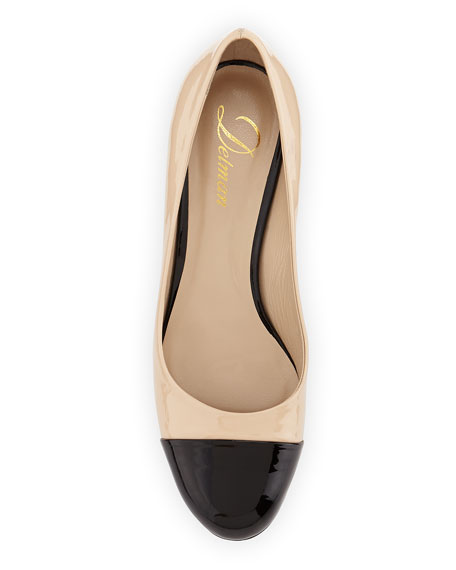 Livia Cap-Toe Block Leather Pump, Nude/Black