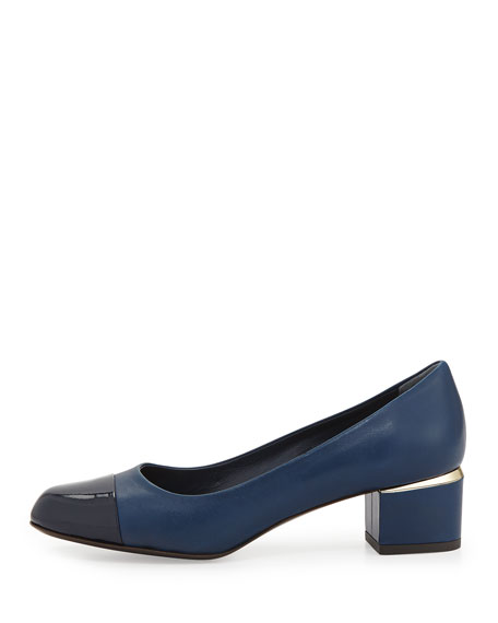 Livia Cap-Toe Block Leather Pump, Indigo
