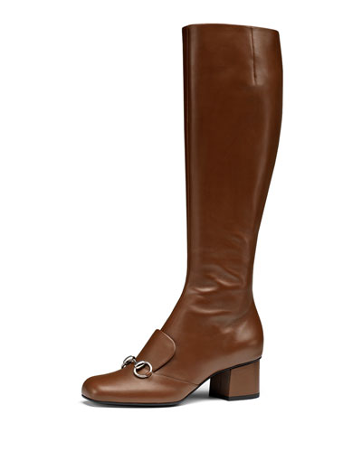 Gucci Leather Horsebit Knee Boot, Nut Brown