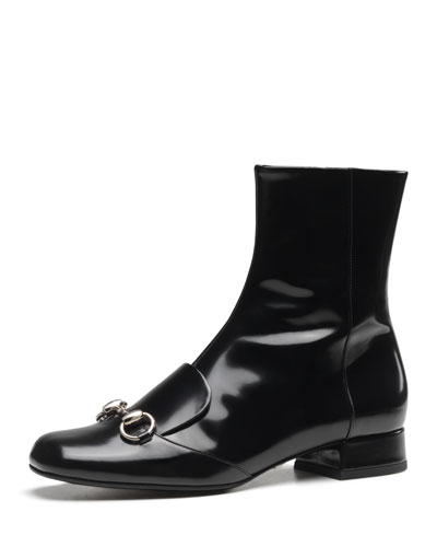 Gucci Leather Horsebit Ankle Boot, Black