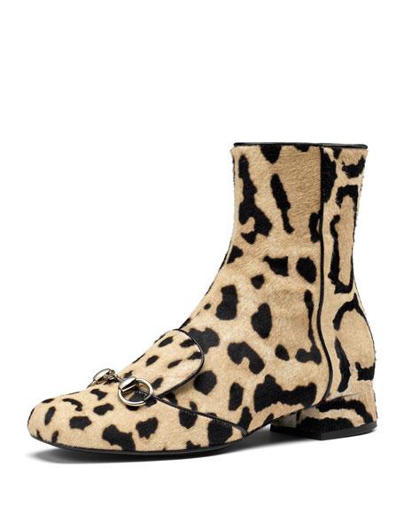 Calf Hair Horsebit Ankle Boot, Cloud Leopard