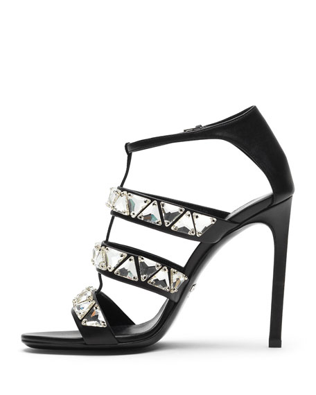 Crystal Triple-Band Sandal, Black/White