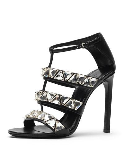 Gucci Crystal Triple-Band Sandal, Black/White