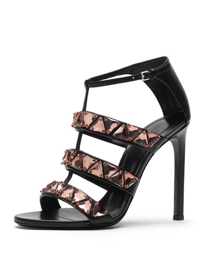 Gucci Crystal Triple-Band Sandal, Nero/Antique Rose