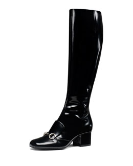Gucci Leather Horsebit Knee Boot, Black