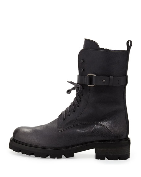 Lace-Up Buckled Combat Boot, Anthracite