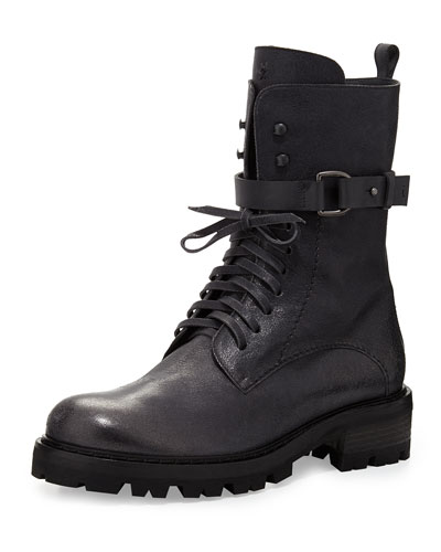 Henry Beguelin Lace-Up Buckled Combat Boot, Anthracite