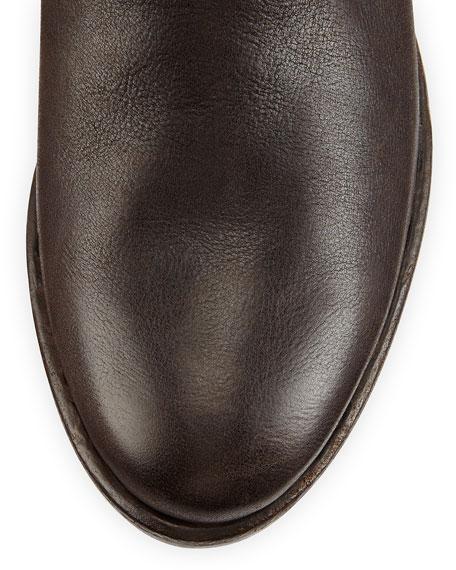Crocodile & Leather Knee Boot, Dark Brown